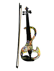 Kinglos - (DSZA-1101) Ebony Parts Electric Violin with Case/Rosin/Bow/Headphone/Cable (Water-lily Design)