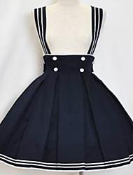 Joelho de comprimento tinta algodão azul marinheiro Saia Lolita