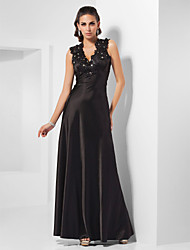 A-line Queen Anne Floor-length Stretch Satin Evening Dress