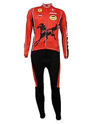 Trajes Kooplus Quick Dry Hombres Ciclismo largas (Caballo Rojo)