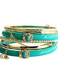 Turquoise résine Bracelet Pearl (6 pièces)