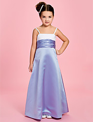 A-line / Princess Ankle-length Flower Girl Dress - Satin Square / Straps with Ruching