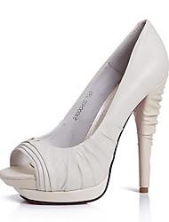 elegantes Leder Pfennigabsatz Pumpen / Peep Toe mit Rüschen Hochzeit / Party Schuhe
