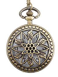 flor da mulher liga relógio de bolso de quartzo analógico (bronze)