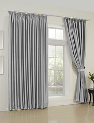 (Two Panels) Classic Solid Grey Room Darkening Curtain