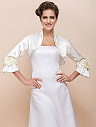 Wedding  Wraps Coats/Jackets Long Sleeve Satin Black / White / Champagne Wedding Flower(s)