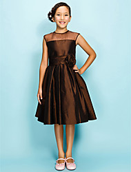Knee-length Organza/Taffeta Junior Bridesmaid Dress - Chocolate A-line/Princess Jewel