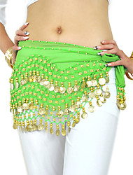 Dancewear Chiffon With 128 Copper Coins Belly Dance Hip Scarf for Ladies More Colors