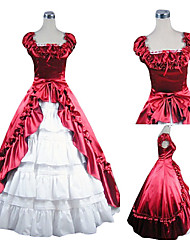 Sleeveless Floor-length Red and White Satin Aristocrat Lolita Dress