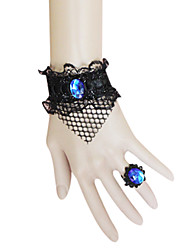 Handmade Web Black Lace Gothic Lolita Bracelet avec Blue Bague pierres artificielles