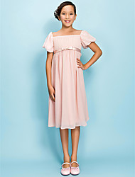 Knee-length Chiffon Junior Bridesmaid Dress Sheath / Column Square Empire with Bow(s) Draping Sash / Ribbon
