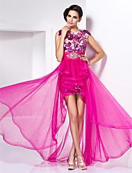 Mantel / Spalte Juwel asymmetrische Tüll Abendkleid