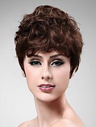 capless 100% cheveux bruns ondulés perruque courte humaine