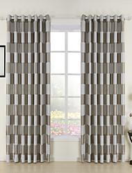 (Dois painéis) cheque xadrez jacquard de poliéster quarto escurecimento cortinas