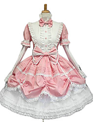 Long Sleeve Puff Sleeve Knee-length Pink White Sweet Lolita Dress with Cute Bow