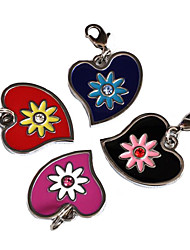 Flowery Heart Style Dog ID Name Tag (Assorted Colors)