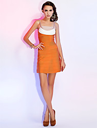 Sheath / Column Spaghetti Straps Short / Mini Rayon Cocktail Party Homecoming Holiday Dress with Bandage
