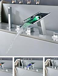 Contemporain Chrome LED Robinet de baignoire Changement