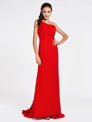 Sweep / Brush Train Chiffon Bridesmaid Dress - Sheath / Column One Shoulder Plus Size / Petite with Side Draping