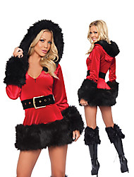 Noble Vvelvety Red Dress Christmas Costume(2 Pieces)