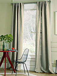 (Two Panels) Country Solid Linen Eco-Friendly Curtain