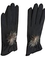 Nice Sheepskin Leather With Rabbit Fur Fingertips Wrist Length Winter Gloves
