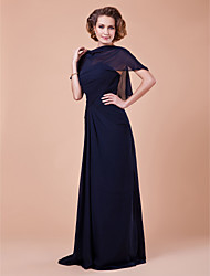 Women's Wrap Capelets Sleeveless Chiffon Dark Navy Wedding Party/Evening Bateau 39cm Draped Pullover