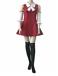 Inspired by Fairy Tail Lisanna Anime Cosplay Costumes Cosplay Suits / Dresses Patchwork Red Sleeveless Dress / Sleeves / Stockings / Bow