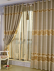 (Two Panels) Jacquard Floral Polyester Energy Saving Curtain