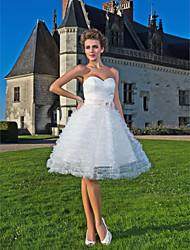 robe de bal sweetheart genou longueur robe de mariée en tulle