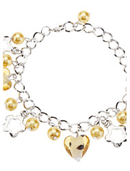 Just Follow Your Heart Coloured Glaze with Glass Bead Bracelet