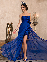 Formal Evening Dress - Royal Blue Plus Sizes Sheath/Column Sweetheart/Strapless Asymmetrical Chiffon
