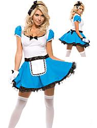 Fantasia empregada doméstica vestido azul Halloween Costume (2 Unidades)