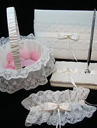 collection de mariage élégant situé en satin blanc et dentelle (4 pièces)