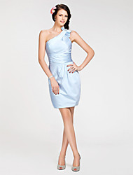 Lanting Short/Mini Satin Bridesmaid Dress - Sky Blue Plus Sizes / Petite Sheath/Column One Shoulder