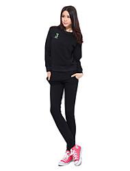 92% Mujeres mangas largas de algodón raya Trajes Transpirabilidad suaves (jersey + pants)