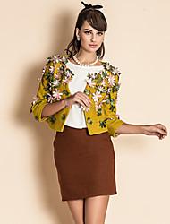 ts flor 3d decoração trimestre manga da jaqueta de tweed de lã curta
