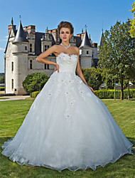Ball Gown Sweetheart Chapel Train Organza Wedding Dress with Beading Appliques Criss-Cross by LAN TING BRIDE®