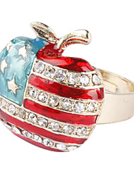 Die Stars and Stripes Die Apfelform vergoldet Ring