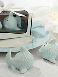 """Kissing Fish"" Ceramic Salt & Pepper Shakers Wedding Favor (Set of 2)"