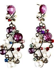 Direction Résine Forme Gem-cloutés Boucles d'oreilles avec perle