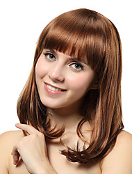 Capless Medium Brown Straight Synthetic Wigs
