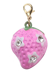 Cat / Dog Tag Strawberry / Cute and Cuddly Pink Metal