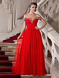 Formal Evening/Prom/Military Ball Dress - Ruby Plus Sizes A-line/Princess Off-the-shoulder/Sweetheart Floor-length Tulle/Chiffon