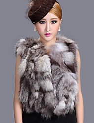 Fur Vest With Gorgeous Sleeveless Collarless Fox Fur Party/Career Vest