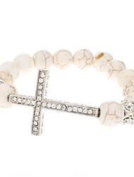 Cross Imitation Ivory Turquoise Diamond Ball Bracelet