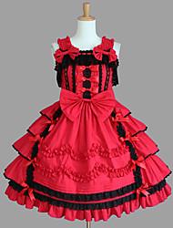 Uma-Peça/Vestidos Punk Lolita Cosplay Vestidos Lolita Vermelho / Chocolate Patchwork Sem Mangas Comprimento Médio Vestido Para Feminino