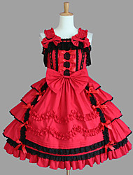 One-Piece/Dress Punk Lolita Lolita Cosplay Lolita Dress Red / Chocolate Patchwork Sleeveless Medium Length Dress For Women Cotton