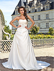 Lanting Bride® A-Linie / Prinzessin Extraklein / Übergrößen Hochzeitskleid - Klassisch & Zeitlos Frühling 2014 Kirchen Schleppe Trägerlos