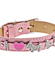 Dog Collars Pink PU Leather
